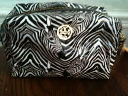 nwt tory burch zebra print makeup bag