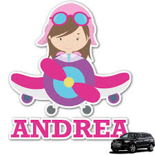 Airplane Theme For Girls Graphic Car Decal Personalized Youcustomizeit
