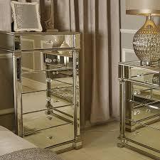 athens gold mirrored 6 drawer tallboy