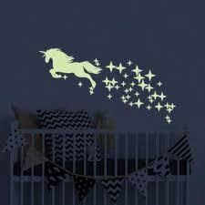 Amazon Com Unicorn Vinyl Wall Decals Glow In The Dark Stars Diy Kids Girls Bedroom Home Nursery Room Wall Mural Decor Baby
