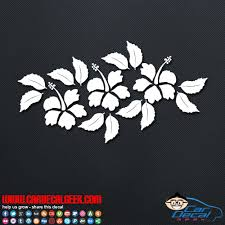 Three Tropical Hibiscus Flowers Car Decal Sticker