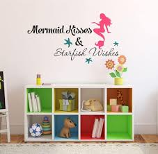 Amazon Com Mermaid Kisses Starfish Wishes Quote Vinyl Wall Decal Size 28 Wide By 11 High Mermaid Decal Mermaids Mermaid Life Girls Wall Decal V22 Arts Crafts Sewing