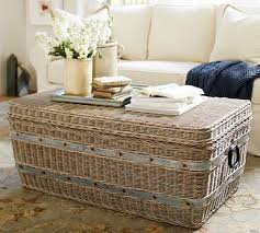 gray woven trunk accent furniture