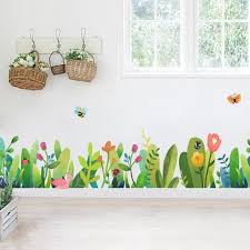 Garden Wall Decal Green Plants Wall Stickers Butterfly Kicking Etsy