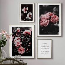 pink camellia rose flower quotes wall art print canvas painting