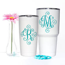 Look Here S A Twist On A Monogram Love The Swirls How About You Turqpineapple Yetidecal Yetim Yeti Cup Designs Letter Decals Decals For Yeti Cups