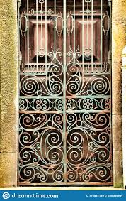 Old Wooden Green Door With Wrought Iron Details Stock Photo Image Of Architecture Gate 170841140