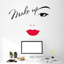 Makeup Eyebrows Wall Decals Red Lips Stickers Vinyl Lettering Decal Beauty Salon Cosmetics Shop Decor Fashion Wall Design Lc1117 Wall Stickers Aliexpress