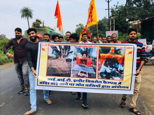 Image result for Bajrang Dal protests alleged 'removal' of temple from IIT Indore in 2017""