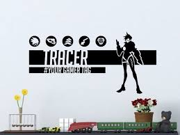 Overwatch Tracer Wall Decal For Gamers Personalized Name Vinyl Wall Decal Sticker By Elegantwallart On Etsy Vinyl Wall Decals Wall Decals Overwatch Tracer