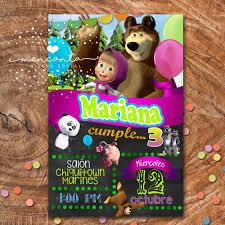 Kit Imprimible Masha Y El Oso Invitacion Cumpleanos 130 00 En