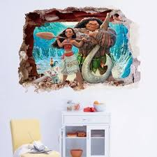 Disney Moana Smashed Wall Sticker 3d Bedroom Boys Girls Vinyl Wall Art Decal Unbranded Cartoon Immagini