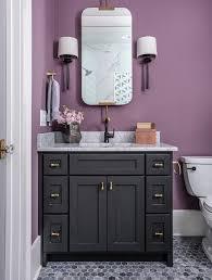 black washstand on purple wall