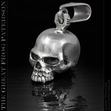 solid silver skull pendant full the