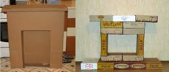 how to make a cardboard fireplace for