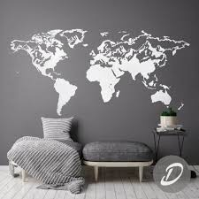 Map Of The World Decal Wall Map Decal World Map Sticker World Etsy World Map Wall Decal Map Wall Decal Colorful Interior Design