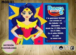 Invitaciones Imprimibles Y Digitales Mujer Maravilla 95 00