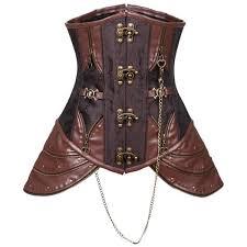 steampunk faux leather steel boned