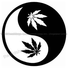 Yin Yang Weed Leaf Die Cut Vinyl Car Decal Window Sticker Patio Lawn Garden B016nis2wa