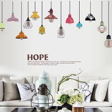 Amazon Com Bibitime Colorful Hanging Style Chandelier Wall Decal Ceiling Lamp Art Sticker For Living Room Girls Bedroom Nursery Vinyl Mural Home Kitchen