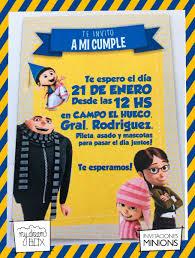 Tarjetas Invitacion Cumple Infantil Villano Minion Gru Agnes