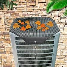 Set Of 2 Mesh Full Air Conditioner Cover Outdoor Ac Waterproof Heavy Duty Black Ebay