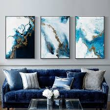 Nordic Abstract Color Blue Golden Canvas Painting Poster And Print Unique Wall Art Pictures Living Room Bedroom With Free Shipping Worldwide Weposters Com