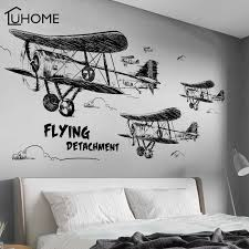 Creative Black And White Aircraft Wall Stickers For Kids Room Bedroom Wall Decoration Living Room Wallpaper Diy Art Decal Wall Stickers Aliexpress