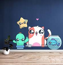 Amazon Com Kawaii Cute Pets For Nursery Vinyl Color Wall Decal Kawaii Cute Pets For Nursery Color Wall Sticker Dp 269 Wd 22 X 45 Home Kitchen