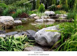 garden pond waterfall stock photos and