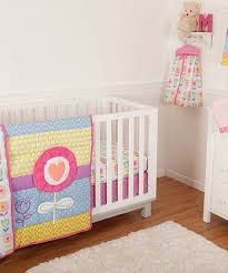 yellow pink tulip five piece crib set