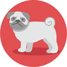 Adorable Simple Pure Breed Puppy Dog Icon Cartoon Pug Vinyl Decal St Shinobi Stickers