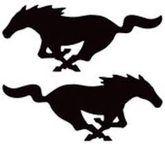 Amazon Com Cartat2s 2 Running Mustang Pony Vinyl Decals Car Truck Window Graphics Sticker Laptop Toolbox Pick Size And Color 2 7x3 Black Kitchen Dining