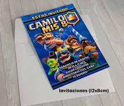 Kit Clash Royale Invitaciones Stickers Banderin Impreso 1 200