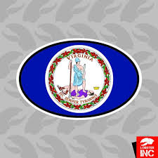 Virginia State Flag Oval Sticker Decal Vinyl Va Mccarthy Construction Com