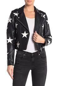 star applique faux leather moto jacket