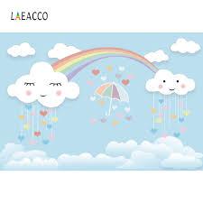 قوس قزح خلفية عيد ميلاد حزب جميل سحابة مظلة القلب خلفيات الطفل