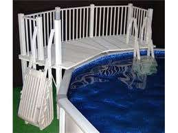 Above Ground Pool Fence Resin Fan Pool Deck With Steps White Abovegroundpoolsafety Com