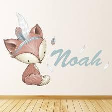 Custom Name Cute Fox Nursery Wall Decal Sticker Personalised Kids Room Ws 51214 Ebay