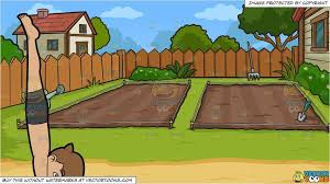 Clipart Cartoon A Man Coming Out Of Boat Pose And Empty Backyard Vegetable Garden Background Vendor Backyard Vegetable Gardens Backyard Vegetable Garden