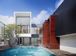 modern house with courtyard swimming pool