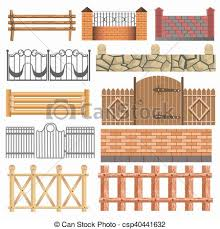Set Of Different Fence Design Wooden Metal Stone Barriers Vector Fences And Gates Illustration Isolated On White