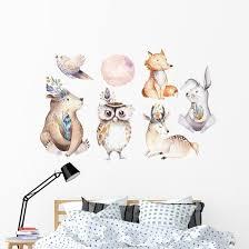 Watercolor Bohemian Baby Animals Wall Decal Sticker Set Wallmonkeys Com