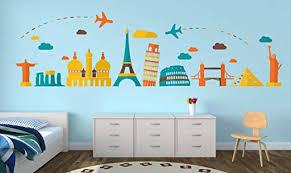Amazon Com World Travel Famous Landmarks Wall Decal 89 X 25 Home Kitchen