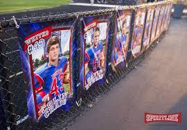 Highlight Seniors At The Football Homecoming With Personalized Banners That You Can Hang Along The Football Homecoming Senior Football Football Senior Pictures