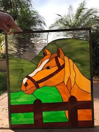 horse leaded stained glass window