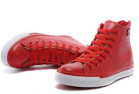 red leather converse double zip john