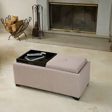 ernest beige fabric tray ottoman