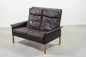 mid century leather 2 seat sofa by hans