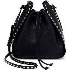 rockstud leather bucket bag